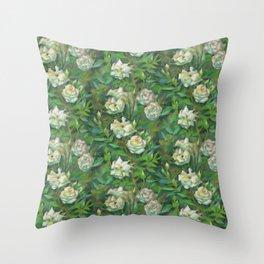 White roses, green leaves Throw Pillow