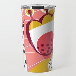 Collage Flowers pink, gold, white, black Travel Mug