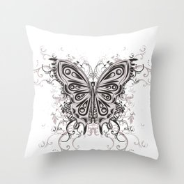 Beautiful filigree butterfly with flowers Throw Pillow