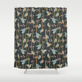King Fishers and Marsh Reeds Shower Curtain