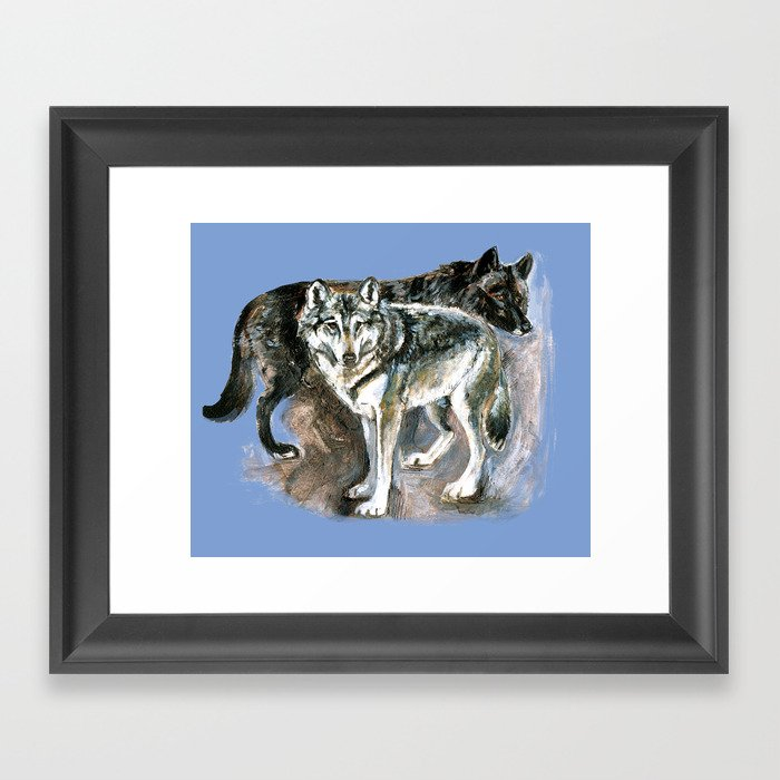 Totem timber wolf over blue Framed Art Print