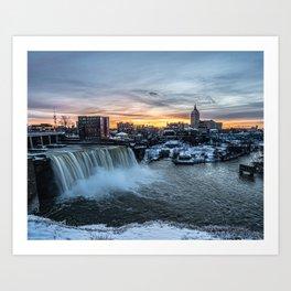 Winter Sunset - Rochester High Falls Art Print