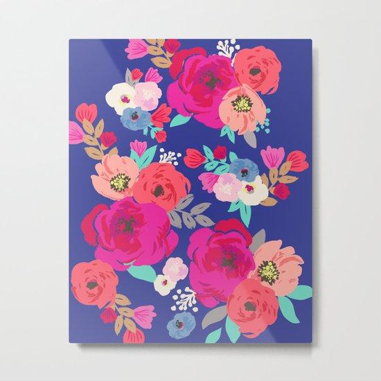 Sweet Pea Floral Blue Metal Print
