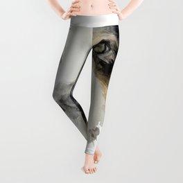 Watercolor Dog Portrait Leggings