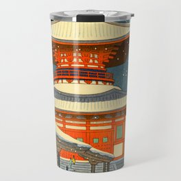 Asano Takeji Japanese Woodblock Print Vintage Mid Century Art Winter Red Shinto Shrine Snow Pagoda Travel Mug