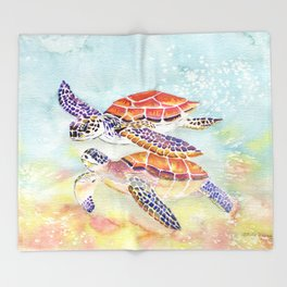 Swimming Together - Sea Turtle Throw Blanket