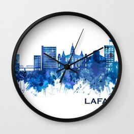 Lafayette Louisiana Skyline Blue Wall Clock