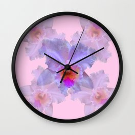 TROPICAL LILAC CATTLEYA ORCHID FLOWERS PINK ART Wall Clock