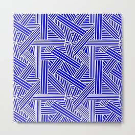 Sketchy Abstract (White & Blue Pattern) Metal Print