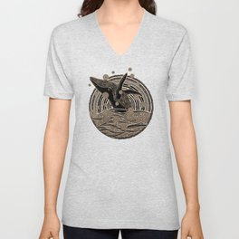 Golden Whale Breach Unisex V-Neck
