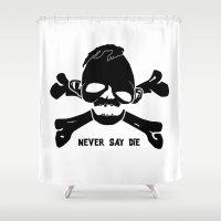 goonies Shower Curtains featuring Goonies Never say die by Komrod