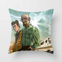 breaking bad Throw Pillows featuring Breaking Bad by Adrien ADN Noterdaem