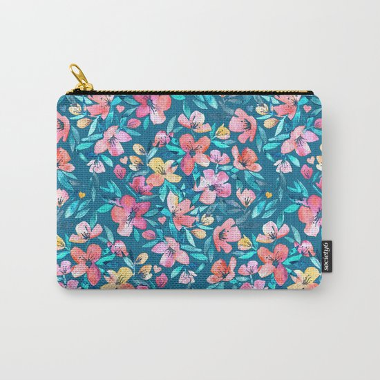 Teal Summer Floral in Watercolors Carry-All Pouch