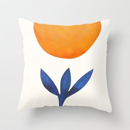 The Little One / Abstract Plant Painting Throw Pillow