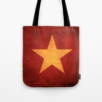 vietnam Tote Bags featuring Vietnam Flag by anhnt32