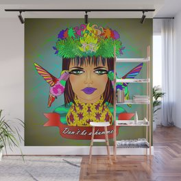 Don't Be a Hummer- Woman and Hummingbird Feminist Portrait V2 Wall Mural