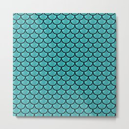 Turquoise  mermaid scale with  glitter effect Metal Print