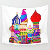 russian Wall Tapestries featuring RUSSIAN BUILDING by Happy as Flynn