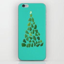 Green Sea Glass Tree on Turquoise #seaglass #Christmas iPhone Skin