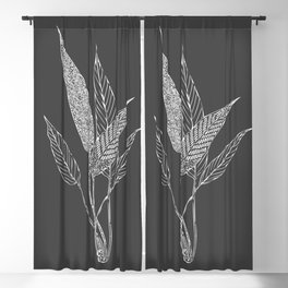 Black and White Botanical Drawing Blackout Curtain