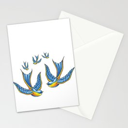 Flock Of Cute Tattoo Style Swallows Vector Stationery Cards