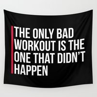 workout Wall Tapestries featuring The Only Bad Workout Gym Quote by EnvyArt