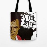 true detective Tote Bags featuring True Detective by Vito Fabrizio Brugnola