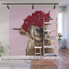 Highland Cown with Rose Crown in Pink Wall Mural