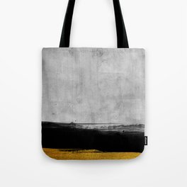 Black and Gold grunge stripes on modern grey concrete abstract backround I - Stripe - Striped Tote Bag