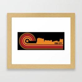 Retro Iowa City Iowa Skyline Framed Art Print