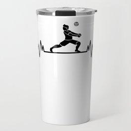 Volleyball Player Heartbeat Beach Funny Sport Gift Travel Mug