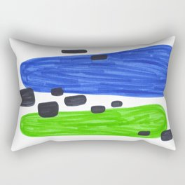 Lime Green Blue Mid Century Modern Abstract Minimalist Art Colorful Shapes Vintage Retro Style Rectangular Pillow