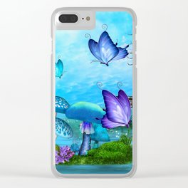 Mystic Whimsey Butterfly Pond Fantasy Clear iPhone Case