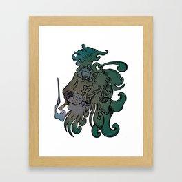 Smoking Lion Framed Art Print