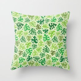 Monstera Doodles in Greens Throw Pillow