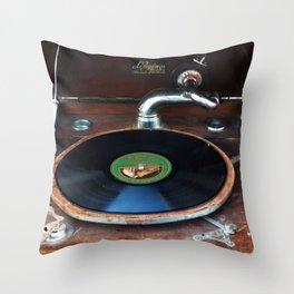 Vintage Gramophone Vinyl Record Player Throw Pillow
