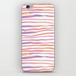 Irregular watercolor lines - pastel pink and ultraviolet iPhone Skin