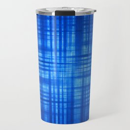 Blue Navy Tartan Striped Pattern Modern Lines Travel Mug