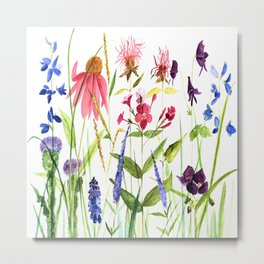 Botanical Colorful Flower Wildflower Watercolor Illustration Metal Print