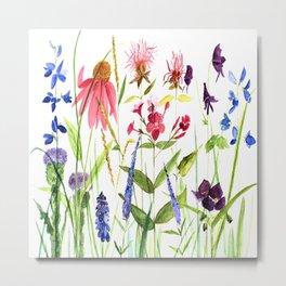 Botanical Colorful Flower Wildflower Watercolor Illustration Metal Print