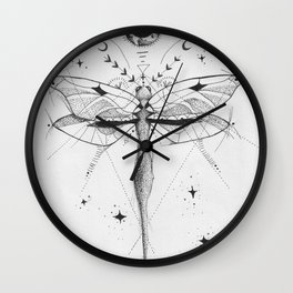Dragonfly Tattoo Style Black and White Design Wall Clock
