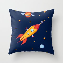 Spaceship! Throw Pillow
