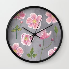 Japanese Anemone Flower Painting Wall Clock