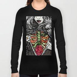 Floral Ribs Long Sleeve T-shirt