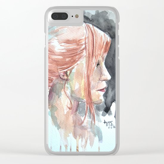 Redhead watercolor Clear iPhone Case