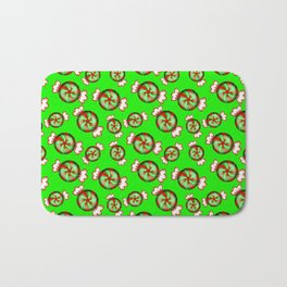 Cute lovely sweet decorative red and green candy pattern on green background. Bath Mat