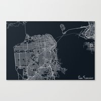 san francisco map Canvas Prints featuring San Francisco Map by chiams