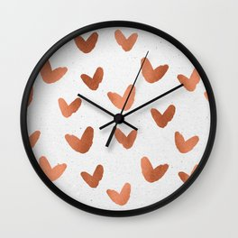 Rose Gold Pink Hearts on Paper Wall Clock