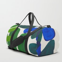Minimalist Modern Mid Century Colorful Abstract Shapes Phthalo Blue Lime Green Gradient Overlapping Duffle Bag