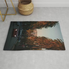 HOLLYWOOD Life, Sunset and Palm Trees Rug